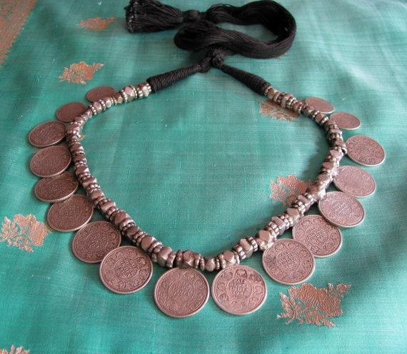 Antique British India Half Rupee Choker Necklace by jasmineium, $750.00