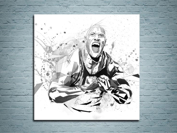 CANVAS PRINT Dwayne The Rock Johnson Black and White Art, Sports Decor, WWE Poster, Watercolor painting, Contemporary Abstract Drawing by KatiaSkye on Etsy