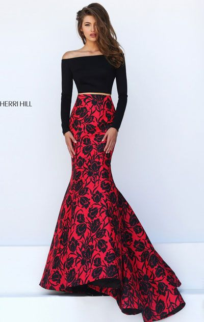 2016 Long-Sleeved Sherri Hill 50127 Printed Black/Red Two-Piece Long Prom Dresses