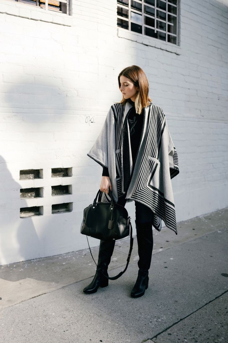 black and grey poncho, black Rag & Bone bag, Kenneth Cole boots, LA fashion blog
