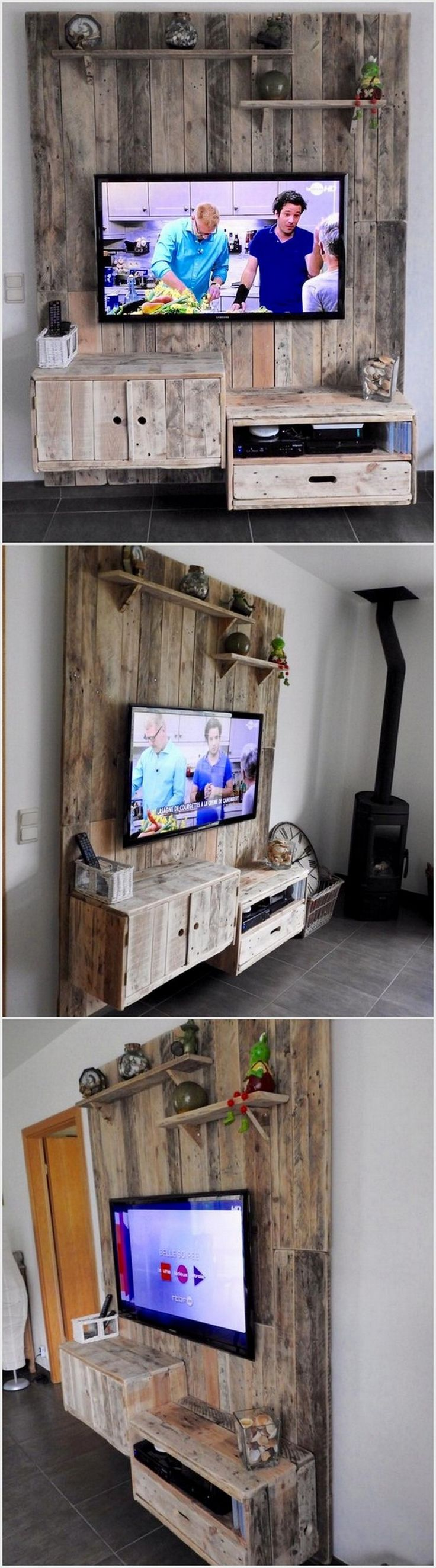 Pallet Wall TV Holder with Drawers