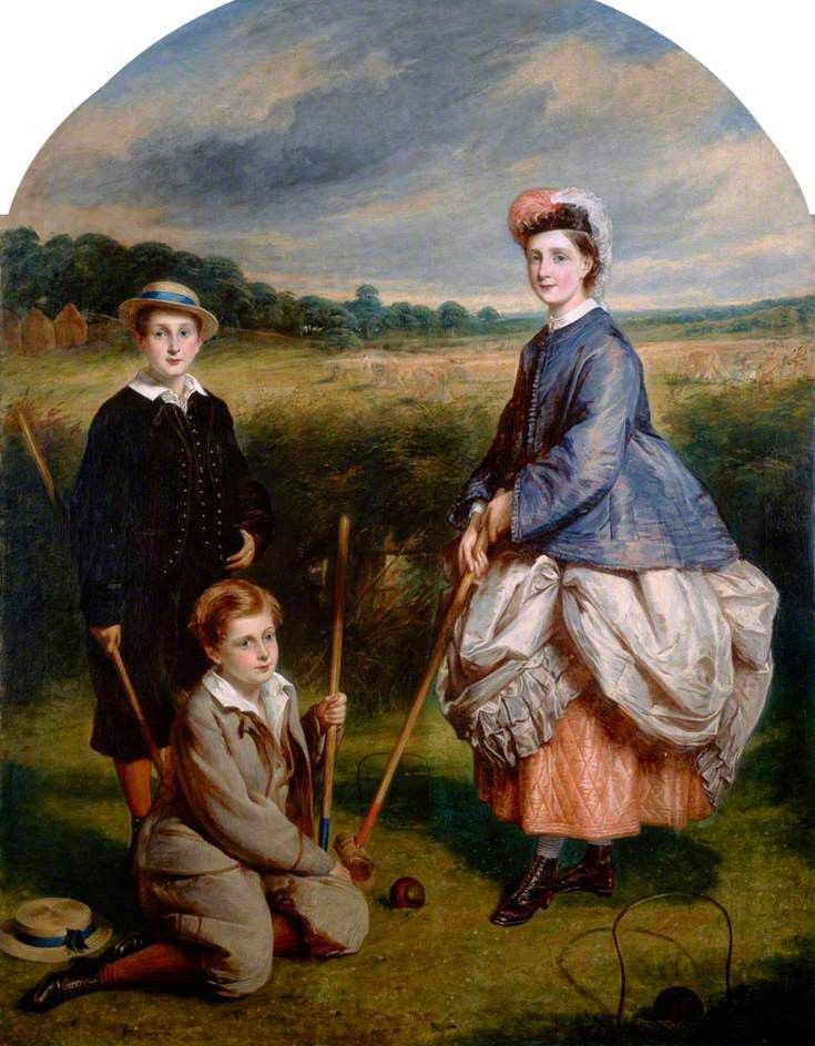 William Middleton (b.1852), John Middleton (b.1855) and Eliza Middleton (b.1848) Playing Croquet, ca. 1860s | In the Swan's Shadow