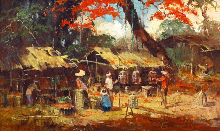 Sudjono Abdullah (Yogyakarta, 1911 – 1993) -  Pasar Burung (vogeltjesmarkt).