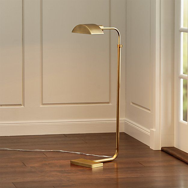 13-08_Theorem Aged Brass Floor Lamp | Crate and Barrel