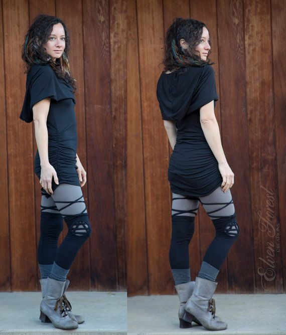 Triangle Cut Out Thigh High Leg Warmers by ElvenForest on Etsy