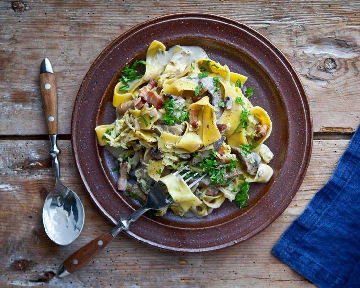 Gräddig pasta med kallrökt fläsk och portabella | COOKED