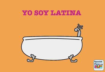 La chiste es un juego de palabras. Sobre latina y la tina.