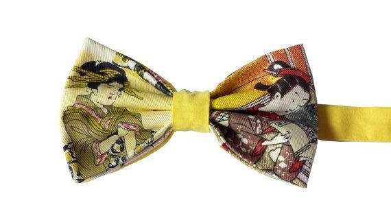 Japanese Geisha print Cotton Bow Tie Pre-Tied  by WatfordTies