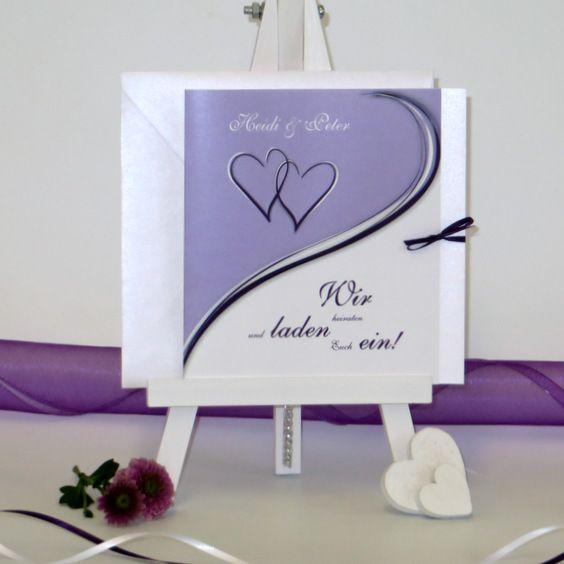 Hochzeitseinladung Trendy In Lila Hochzeitskarten Herzen Lila