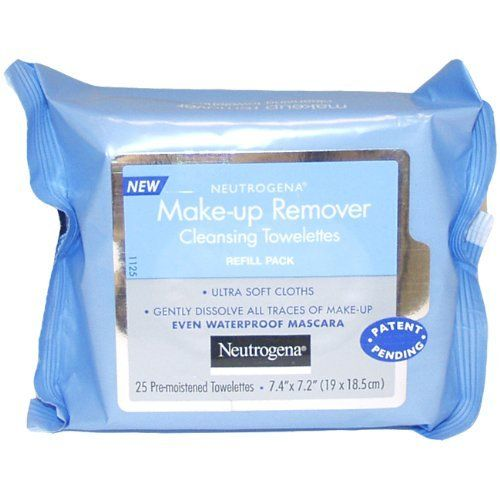 Neutrogena Makeup Remover Cleansing Towelettes  Refill Pack  25 Count: http://www.amazon.com/Neutrogena-Makeup-Remover-Cleansing-Towelettes/dp/B0010XUU9M/?tag=bribeatip-20
