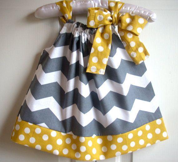 baby clothes baby girl dress kids childrens clothes pillowcase dress girls dress Chevron gray gold