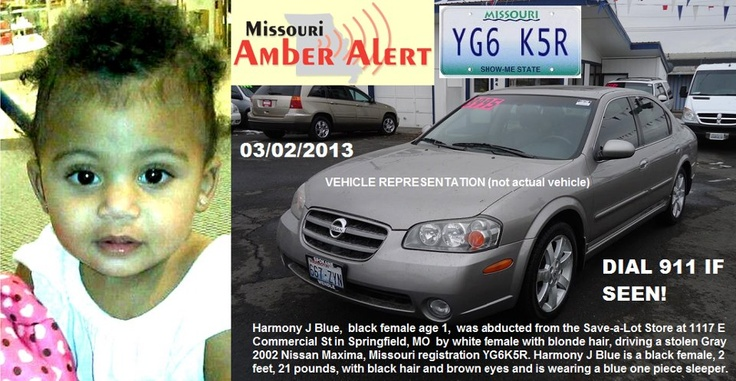"SPRINGFIELD, MISSOURI AMBER ALERT HAS BEEN CANCELLED! Little Harmony is safe and back with her family!  That's the best news I heard all day! To continue assisting with Amber Alerts and missing person cases through flyer and picture sharing on Facebook please ""Like"" Missing on Facebook: http://www.facebook.com/missingcases    NEWS ARTICLE: The Amber Alert for 13-month-old Harmony J. Blue has been can...See More — with Amanda Pope, Kimberly Stewart, Jill Arrington Hartgrave and 32 others."