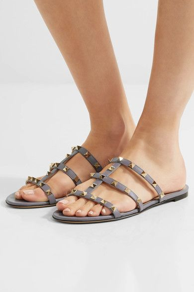 Valentino - The Rockstud Leather Sandals - Blue - IT
