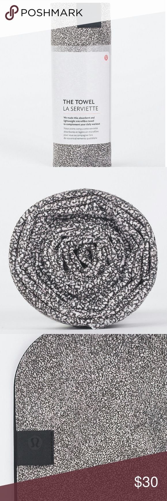 """NEW! Lululemon Yoga Mat Towel Used and carefully washed yoga mat towel. Black and white speckled. Still on sale the website. Brand is Lululemon, style """"The Towel"""", selling for over $40 online. Lululemon Accessories"""