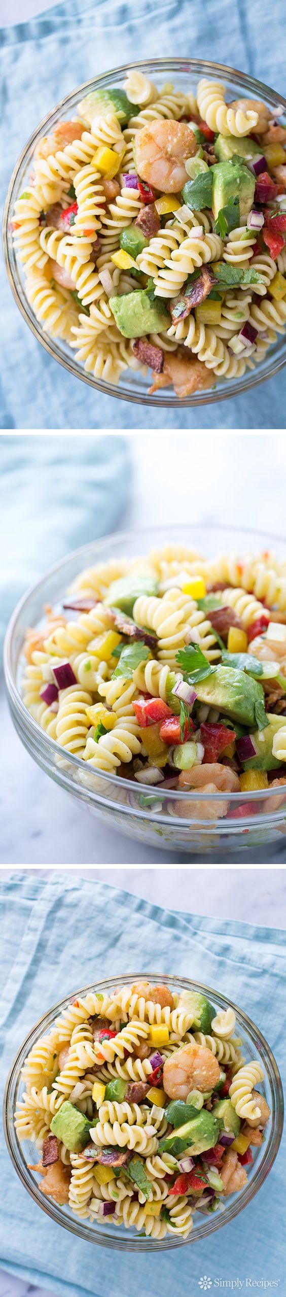 Such a gorgeous summer pasta salad, sure to be a hit at potluck gathering! With fusilli pasta, chipotle-marinated shrimp, bacon, and avocado, all tossed with a zesty fresh lime juice vinaigrette. On SimplyRecipes.com