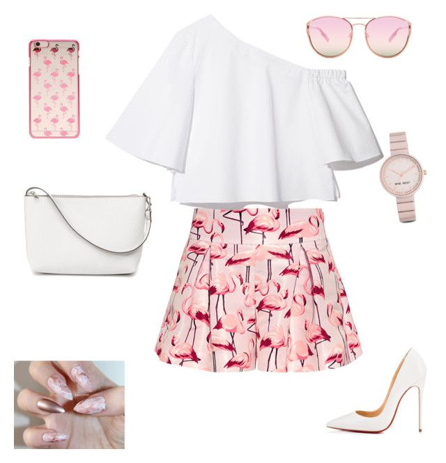 """""""A good theme for girly girls"""" by shivani-arvind on Polyvore featuring RED Valentino, Christian Louboutin, Quay and Nine West"""