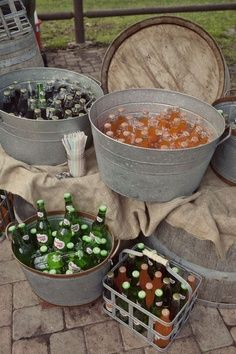 Barn Wedding | Easy DIY solution for wedding reception | Glass bottle drinks in galvanized tin buckets & pails