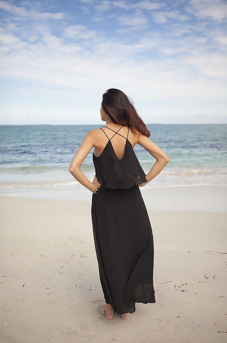 Ariel Chiffon Maxi (Black) - AU$40  Shop: http://www.leftlanevintage.com/products/details/ariel-chiffon-maxi-black