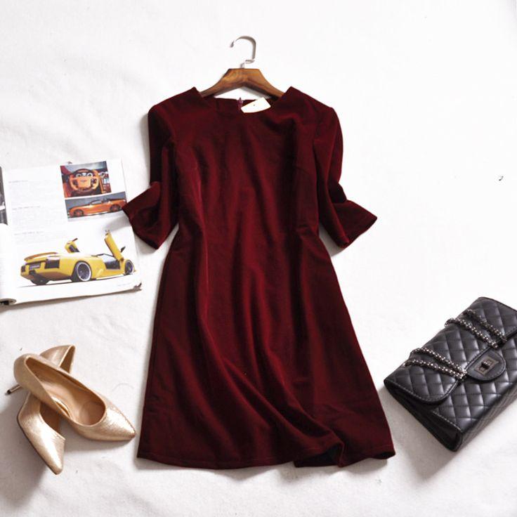 Aliexpress.com: Acheter Femmes Automne Hiver Robe 2016 Mode Élégante Noir Rouge Un ligne Robes De Velours Crayon Mince Plus La Taille de Trois Manches Trimestre robe de velours robe fiable fournisseurs sur Online Store eva
