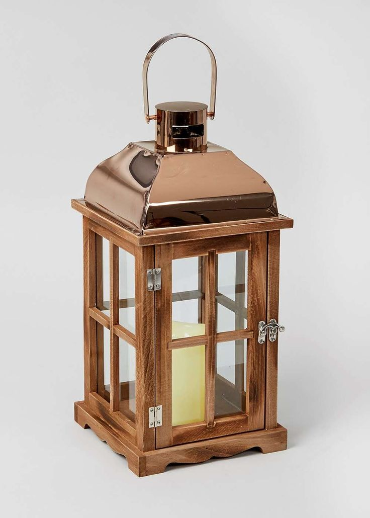 Lantern With LED Candle (40cm x 19cm x 19cm) View 1