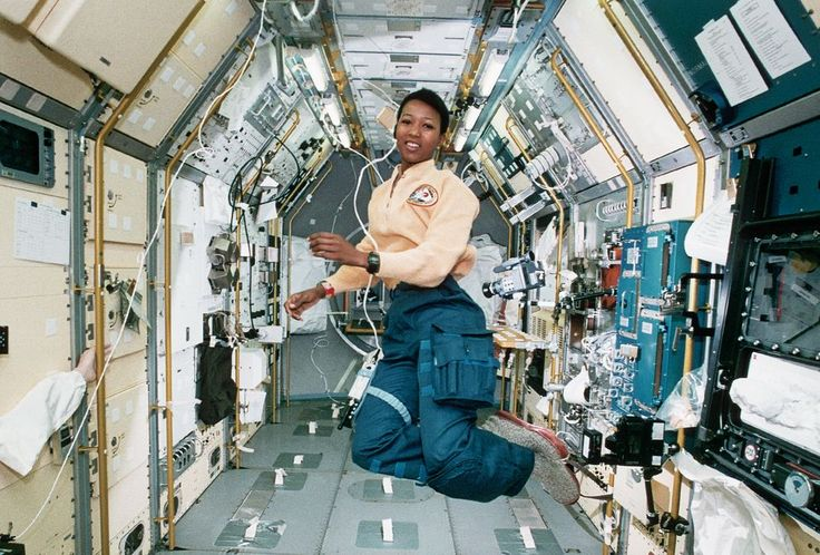 Mae Jemison - the first African-American woman in space, has a background in engineering and medical research. She was the science specialist on a 1992 Spacelab mission.