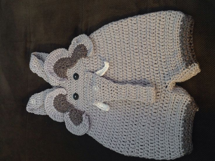 Elephant coveralls size 6 months, adjustable shoulder straps, button bottom opening trunk designed to hold a pacifier.  Original design, Mouse in the House designed by A. Friend Shawls    Crochet elephant romper, elephant, baby boy