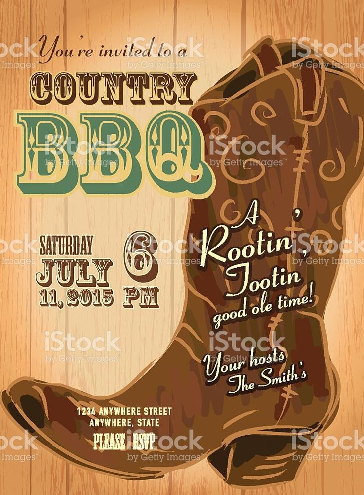 Country and western BBQ with cowboy boot invitation design template royalty-free stock vector art