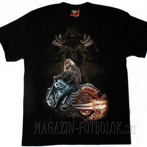 Очень крутая футболка байкерская с призраком смерти.