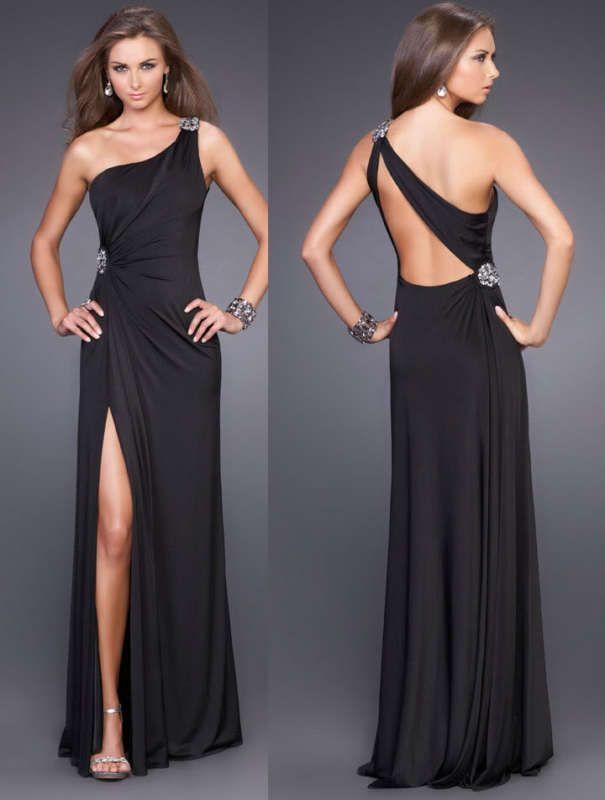 Sexy-Black-Chiffon-One-Shoulder-Backless dress