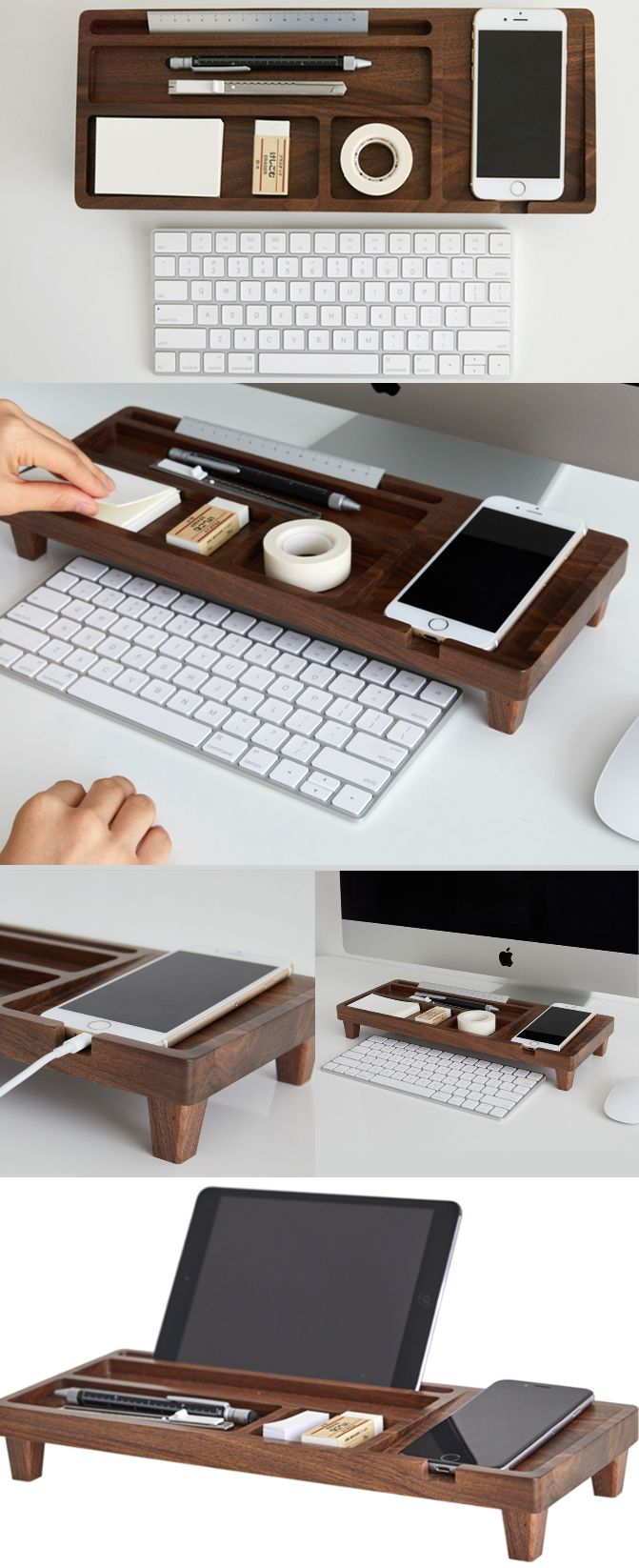 A Black Walnut Wooden Office Desk Organizer Iphone Cell Phone Charging Station Dock Mount Holder Charge Cord Cable Management System Pen Pencil