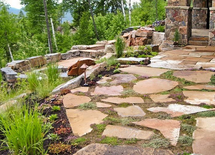 rusticflagstonepatio decorative flagstone patios rustic old style flagstone patio - Rustic Patio Ideas