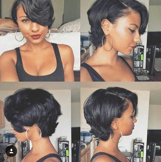 Seriously considering a cut like this. Short, but still has long layers and bangs. Can re-create with roller set.