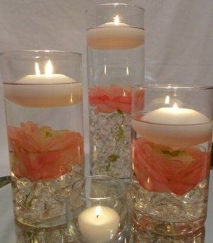 Peonies Wedding Reception Table Centerpieces With Floating Candles