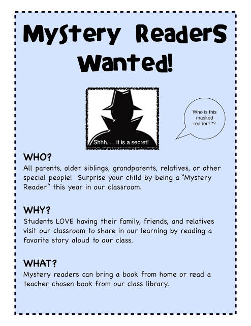 At Back to School Night – I always have a Mystery Reader Sign-up. This is…
