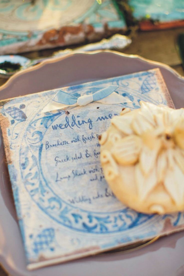 handmade linen wedding menu card | rustic blue | homemade decorated wedding bread | wedding in Greece | www.bemyguest.com.gr
