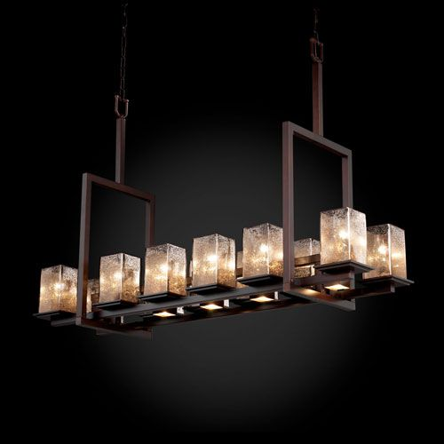Justice design group fusion montana 12 up and five downlight dark bronze tall bridge chandelier on