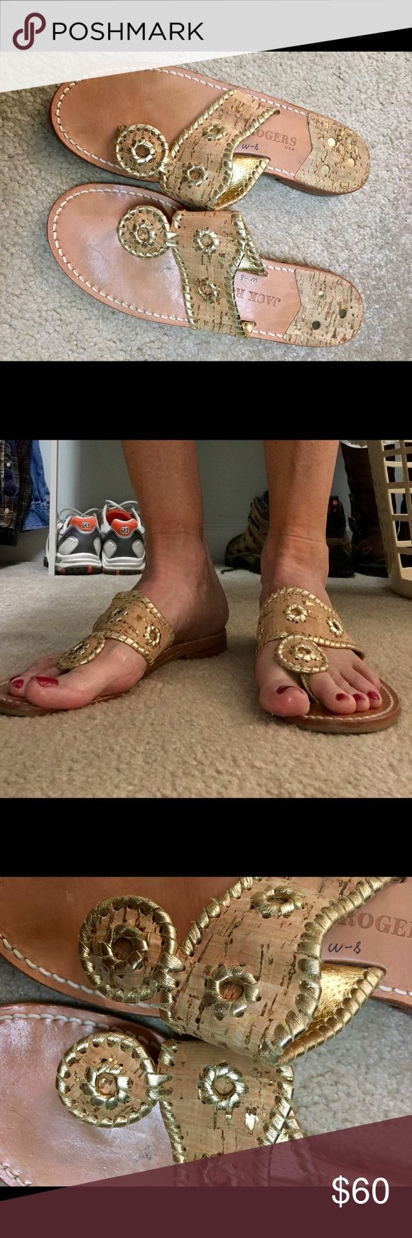 Jack Rogers Napa Sandals Authentic Jack Rogers Napa Valley Sandal; size 8 medium; normal wear, but great condition; popular Natural Cork and Gold. Goes with everything! No trades. Jack Rogers Shoes Sandals