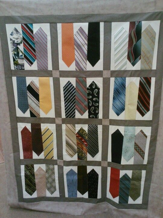 Missionary tie quilt. I remember making a Tie quilt with my grandmother. It was fun (as well as a pain in the butt) to remove the stuffing out of each tie.