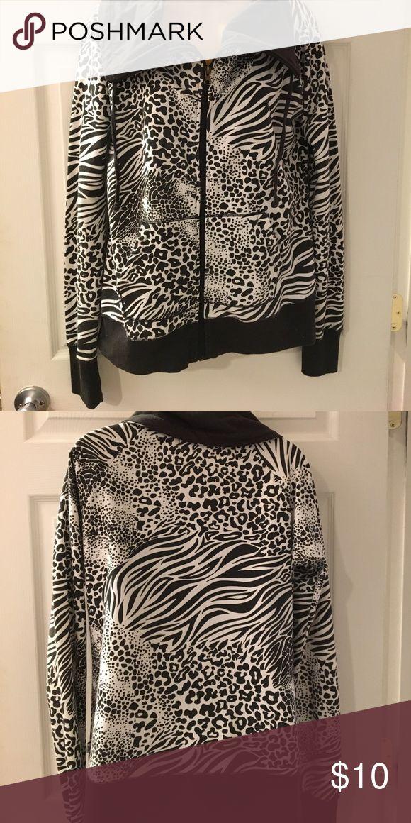 Animal  print zip up lightweight jacket No hood! EUC! Price reflects use. XL fits more like a LRG! Self Esteem Tops Sweatshirts & Hoodies