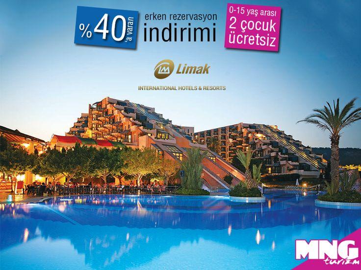 Misafirlerine eşsiz bir tatil deneyimi sunan Limak Otelleri, erken rezervasyon fırsatları ile %40'a varan indirimlerle sizi bekliyor. bit.ly/MNGTurizm-erken-rezervasyon-limak-otelleri-s