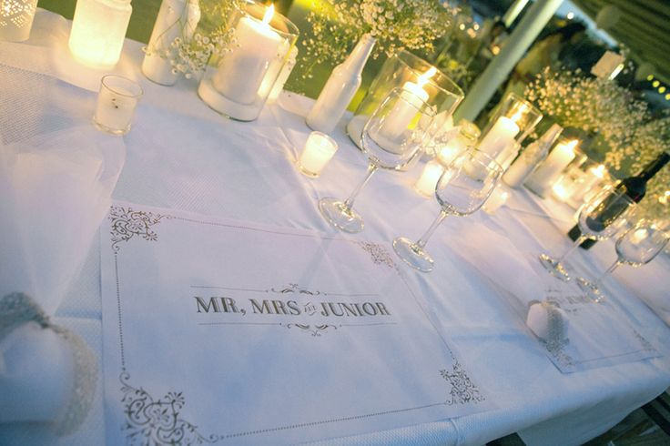Baby's breath and candles centerpieces, custom made placemats- Mitheo Events | Concept Events Styling