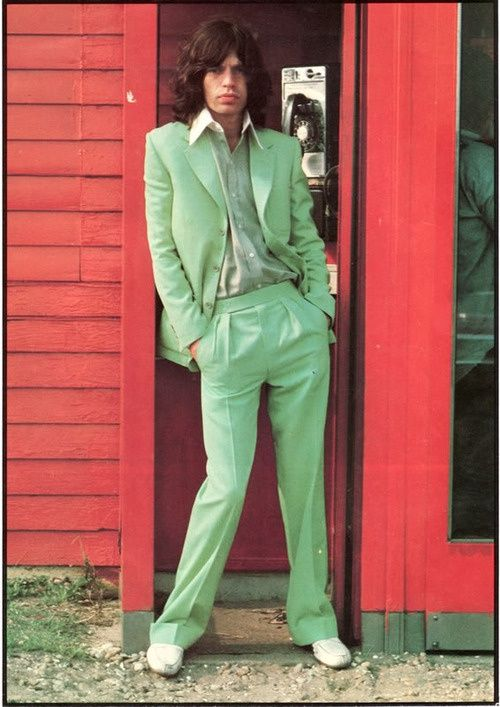 The Rolling Stones' Mick Jagger rocking a rather fetching lime green suit…