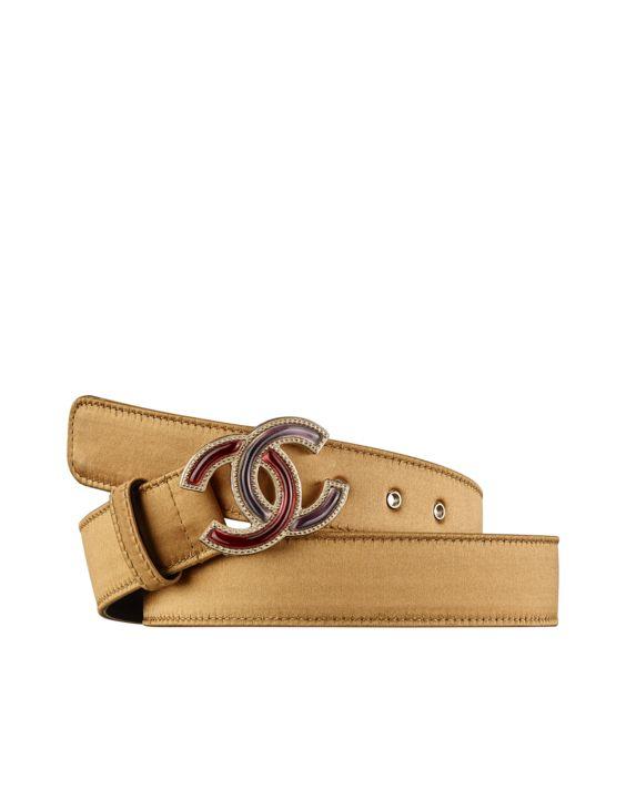 Cinturón de cuero, satén, metal dorado y resina-amarillo oscuro - CHANEL