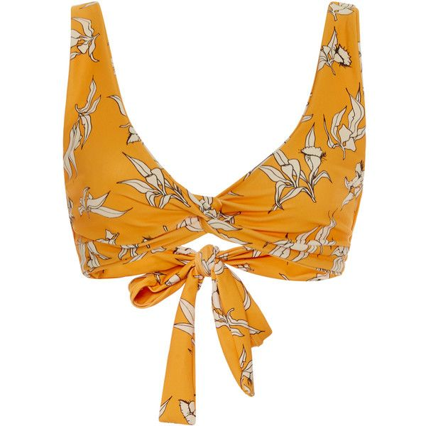 Camp Cove     Lena Knot Bikini Top ($65) ❤ liked on Polyvore featuring swimwear, bikinis, bikini tops, print, bikini two piece, swim tops, yellow bikini swimwear, print swimwear and patterned bikini