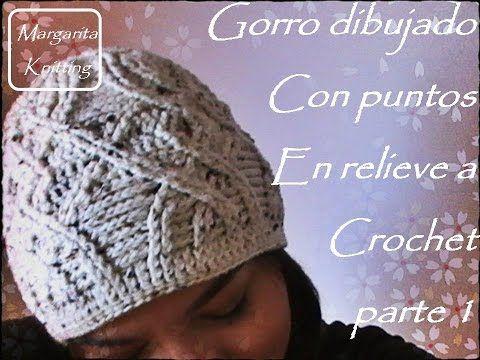 Gorro tejido a crochet dibujado con puntos en relieve parte 1 (diestro) - YouTube
