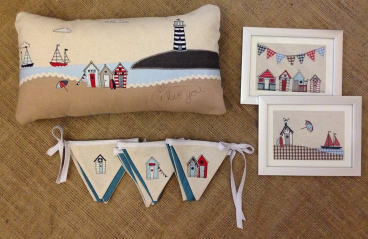 Beach Hut Boat Seaside Nautical Cushion Art Bunting Home Bedroom Laura Ashley