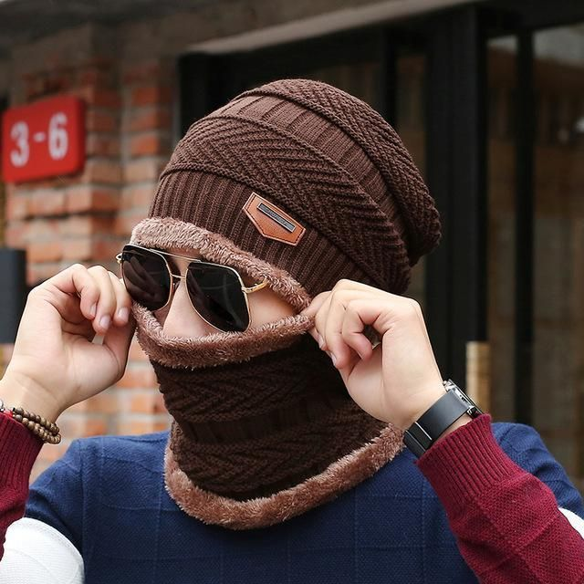 [Dexing]Neck warmer 2016 knit cap scarf cap two-piece Winter Hats For Men Caps Warm Moto Fur Winter Fleece Knit Hat balaclava