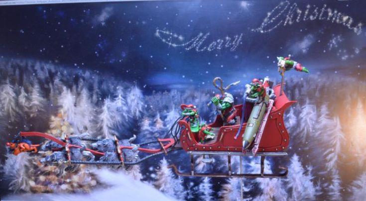 Christmas, Ork Santa, Santa Claus, Sled, Sleigh, Xmas By Midget Gems