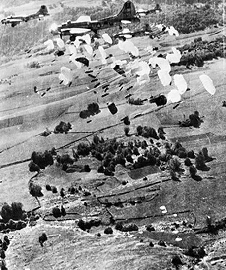 USAAF B-17 Flying Fortress bombers dropping supplies for French resistance fighters, Vercors, France, 1944