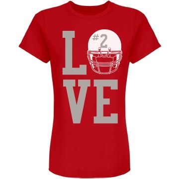 Customize this football fan or football girlfriend shirt to support your fave athlete! Add a number to the helmet on this tee! Great for college, high school and more!